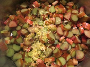 Rhubarb, Sugar, Lemon Zest, and Lemon Juice